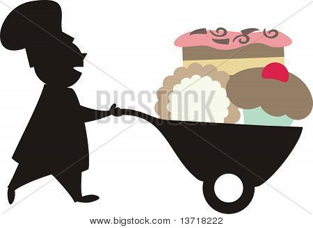 Silhouette male chef desserts wheelbarrow