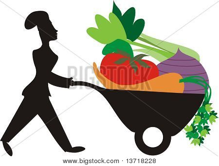 Silhouette woman chef vegetable wheelbarrow