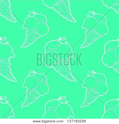 Seamless pattern with ice-cream cones in tasty pistachio green color.