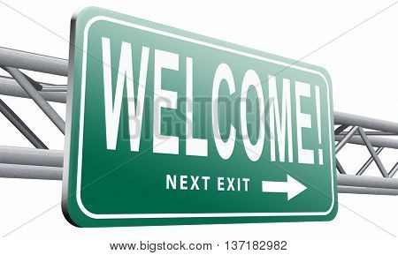 welcome home or a warm welcoming to our shop, the doors are open for visitors, this is and invitation and shows hospitality, 3D illustration on white background