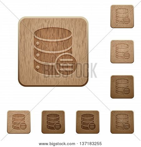 Set of carved wooden Database options buttons in 8 variations.