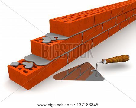 Brickwork and trowel. Masonry made of ceramic bricks and trowel on a white surface. Isolated. 3D Illustration