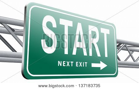 start new life or road to fresh begin, road sign billboard, 3D illustration, isolated on white background