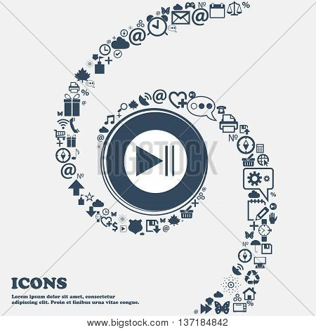 Play Button Icon In The Center. Around The Many Beautiful Symbols Twisted In A Spiral. You Can Use E