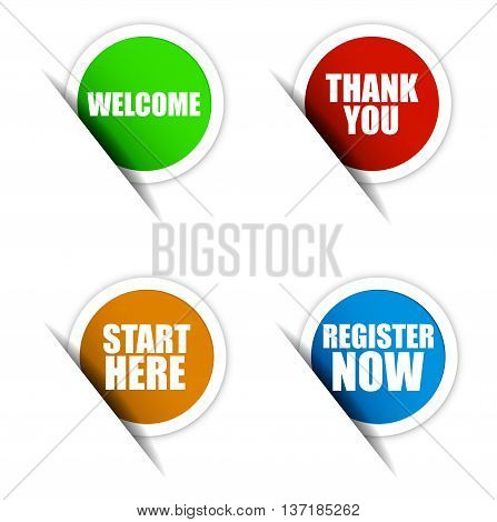 This is set vector paper elements / green sticker welcome / red sticker thank you / orange sticker start here / blue sticker register now
