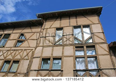 Medieval building in Chatillon-sur--Chalaronne town in France