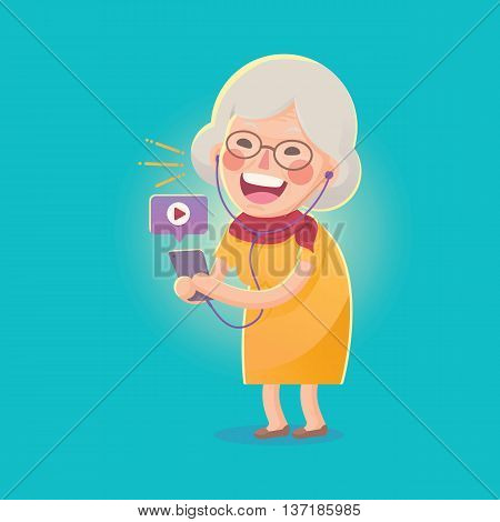 Vector Illustration of Happy Grandma Watch Movie From Smart phone , Cute Cartoon Character