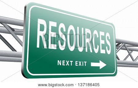 Resources human or natural resource road sign billboard, 3D illustration, isolated on white background