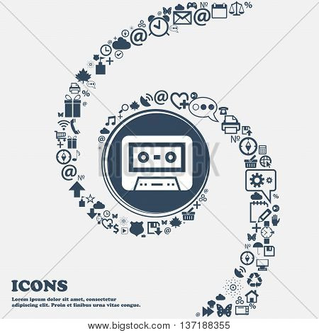 Audiocassette Icon In The Center. Around The Many Beautiful Symbols Twisted In A Spiral. You Can Use
