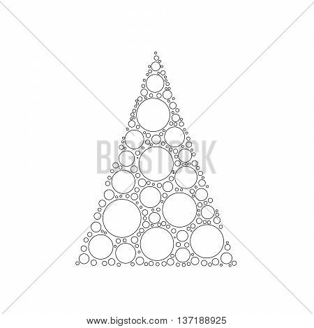 Simple abstract chrismas tree of dots, or circles, in a triangle shape. White circles with black outline on white background.
