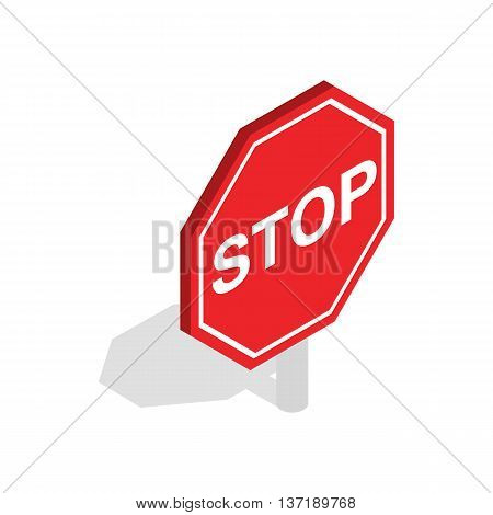 Red traffic stop sign icon in isometric 3d style isolated on white background