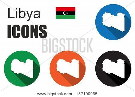 This is set colorful map flat icons state libya