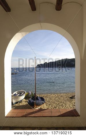 Arch of the Port Bo Beach, Calella de Palafrugell, Costa Brava, Girona , Spain