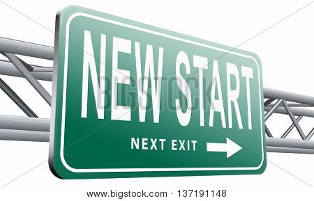 new fresh start or chance back to the beginning and do it again road sign billboard, 3D illustration isolated on white background.