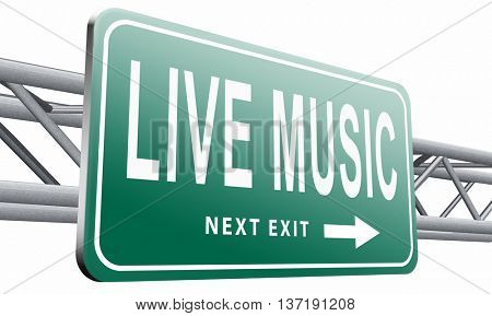 music live stream radio music or listen on air broadcasting songs program road sign, 3D illustration isolated on white background.
