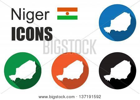 This is set colorful map flat icons state niger