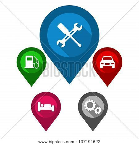 This is set vector map pointers / blue pin repair / green pin gas station / red pin car / purple pin hotel / gray pin industry