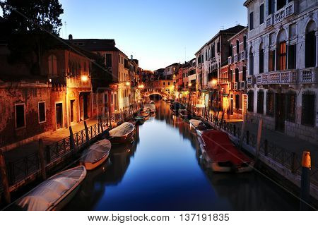 Canal of Venice at night Italy Europe