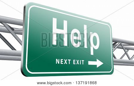 help search find assistance and helping hand, support desk online support road sign, billboard, 3D illustration isolated on white