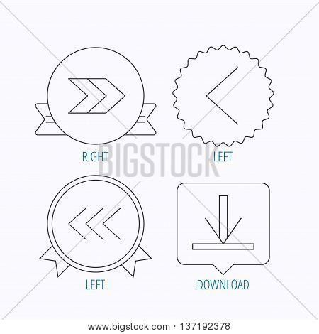 Arrows icons. Download, left and right direction linear signs. Next, back arrows flat line icons. Award medal, star label and speech bubble designs. Vector