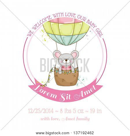 Baby Shower or Arrival Card - Baby Mouse Girl - in vector