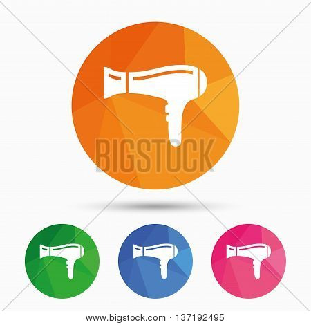 Hairdryer sign icon. Hair drying symbol. Triangular low poly button with flat icon. Vector