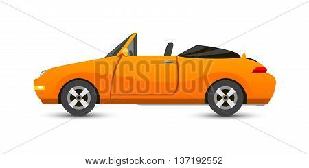 Car cabriolet vehicle transport type design sign technology style vector. Generic cabriolet car design flat vector illustration isolated on white. Transport cabriolet object