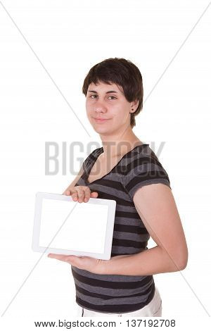 Portrait of a woman holding a tablet