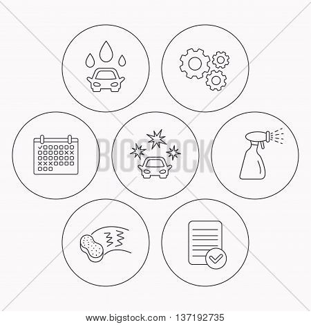 Car wash icons. Automatic cleaning station linear signs. Hand wash, sponge and spray flat line icons. Check file, calendar and cogwheel icons. Vector