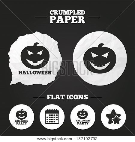 Crumpled paper speech bubble. Halloween pumpkin icons. Halloween party sign symbol. All Hallows Day celebration. Paper button. Vector