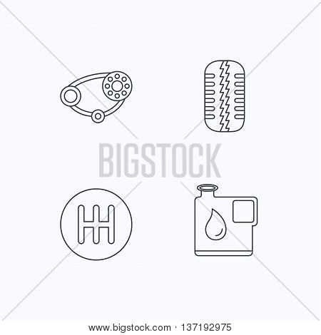 Wheel, manual gearbox and timing belt icons. Fuel jerrycan, manual transmission linear signs. Flat linear icons on white background. Vector