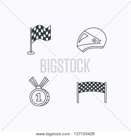 Race flag, checkpoint and motorcycle helmet icons. Winner award medal linear signs. Flat linear icons on white background. Vector