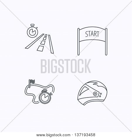 Motorcycle helmet, race timer and travel time icons. Start race linear sign. Flat linear icons on white background. Vector