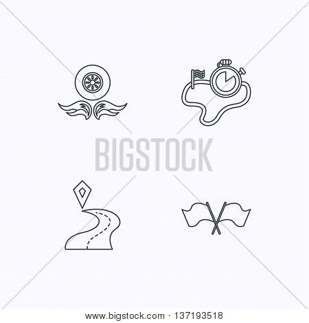 Race flags, timer and destination pointer icons. Wheel on fire linear sign. Flat linear icons on white background. Vector