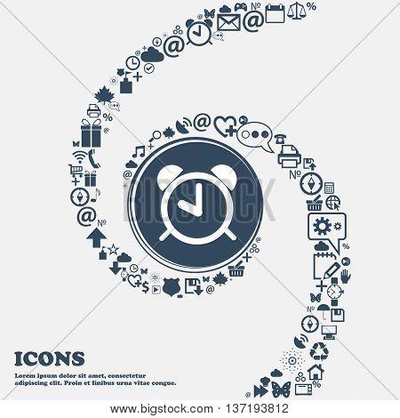 Alarm Clock Sign Icon. Wake Up Alarm Symbol In The Center. Around The Many Beautiful Symbols Twisted