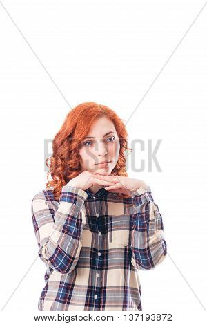 Young attractive woman leaning on her hands, isolated over white background