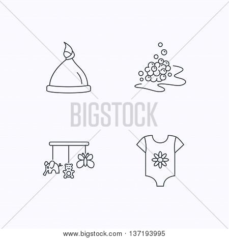 Baby clothes, bath bubbles and hat icons. Baby toys linear signs. Flat linear icons on white background. Vector