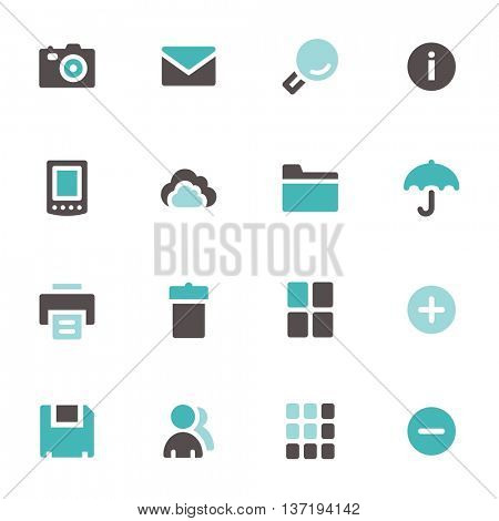 Documents and photo web icons set. Office and social media mobile symbols.