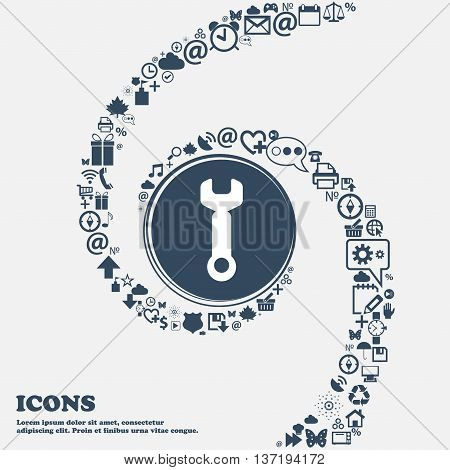 Wrench Key Sign Icon. Service Tool Symbol In The Center. Around The Many Beautiful Symbols Twisted I