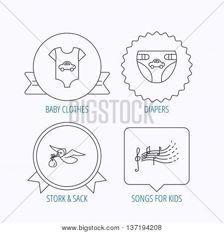 Diapers, newborn clothes and songs for kids icons. Stork with sack linear sign. Award medal, star label and speech bubble designs. Vector