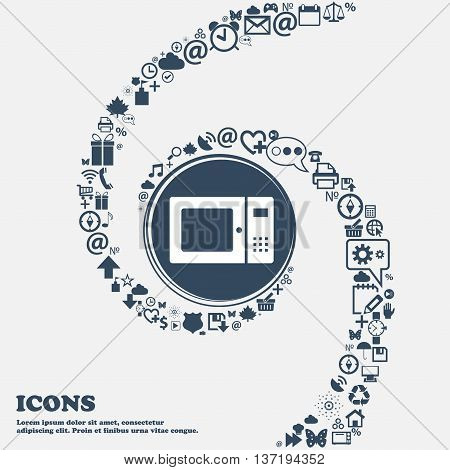 Microwave Icon In The Center. Around The Many Beautiful Symbols Twisted In A Spiral. You Can Use Eac