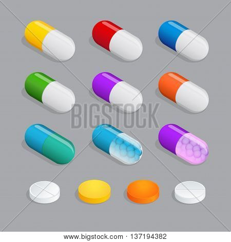 Medicaments of various types, set of medical pill. Many colorful pills. Things to human health. Flat 3d isometric vector illustration