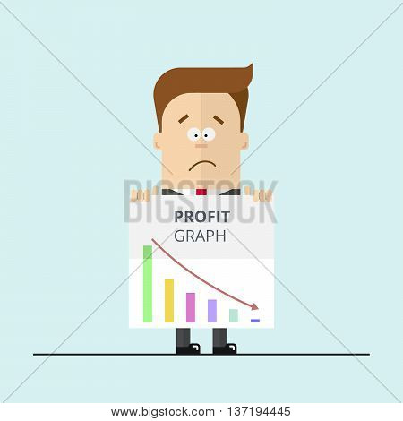 Cartoon businessman or manager in a suit shows unsuccessful profit graph