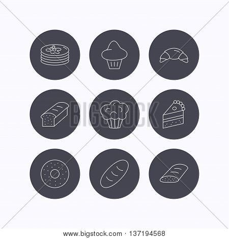 Croissant, cake and bread icons. Muffin, brioche and sweet donut linear signs. Pancakes with syrup flat line icons. Flat icons in circle buttons on white background. Vector