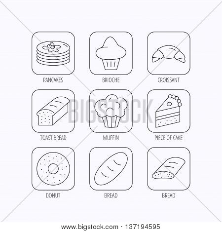 Croissant, cake and bread icons. Muffin, brioche and sweet donut linear signs. Pancakes with syrup flat line icons. Flat linear icons in squares on white background. Vector