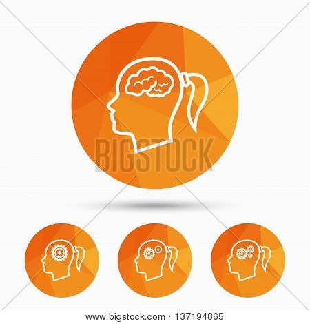 Head with brain icon. Female woman think symbols. Cogwheel gears signs. Triangular low poly buttons with shadow. Vector