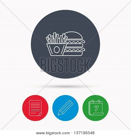 Burger and fries icon. Chips, sandwich sign. Hamburger fast food symbol. Calendar, pencil or edit and document file signs. Vector