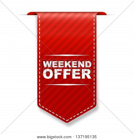 This is red vector banner design weekend offer