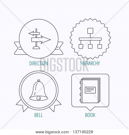 Book, hierarchy and direction arrows icons. Alarm bell linear sign. Award medal, star label and speech bubble designs. Vector