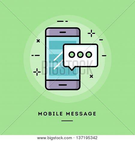 Mobile message flat design thin line banner usage for e-mail newsletters web banners headers blog posts print and more